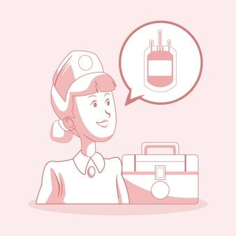 Krankenschwester mit erste-hilfe-koffer und blutbeutel