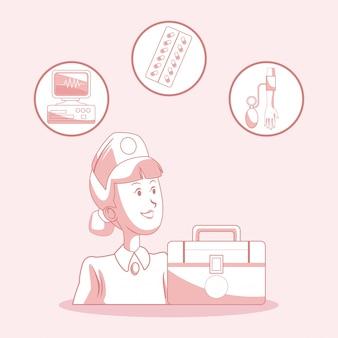 Krankenschwester mit erste-hilfe-koffer und medizin