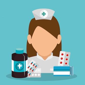 Krankenschwester mit medizinischer ausrüstung