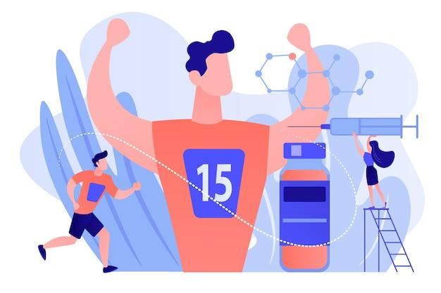 Krankenschwester mit spritze macht eine dopingspritze, um sportler, winzige leute, zu fördern. doping-test, leistungssteigernde medikamente, doping-einsatz im sportkonzept. isolierte illustration des rosa korallenblauvektors