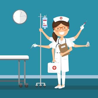 Krankenschwester multitasking im krankenhaus