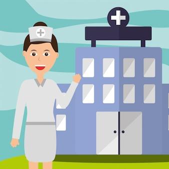 Krankenschwester personal professionelles krankenhausgebäude