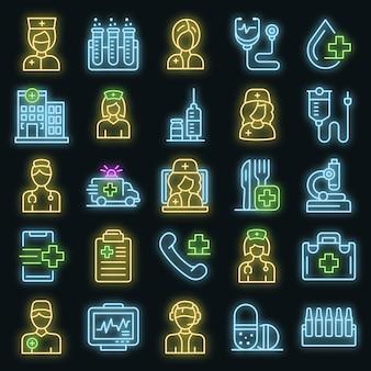 Krankenschwester-symbole gesetzt. umrisse von krankenschwester-vektor-icons neonfarbe auf schwarz