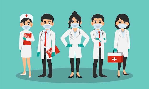 Krankenschwester und ärzte tragen gesichtsmaske