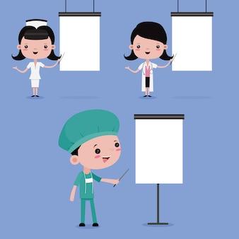 Krankenschwester und arzt gegen vorlage