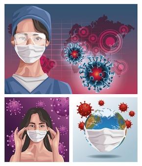 Krankenschwester und frau, die fase maske mit erdplanet, schutz verwenden