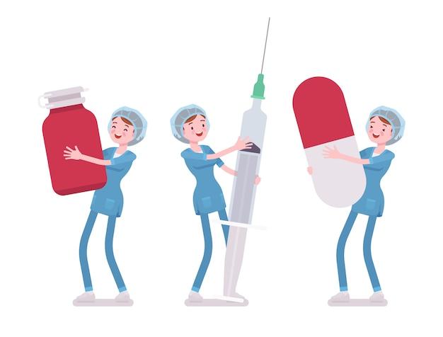 Krankenschwester und große werkzeuge