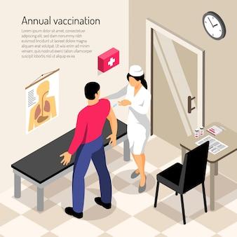 Krankenschwester und patient während der impfung isometrische zusammensetzung