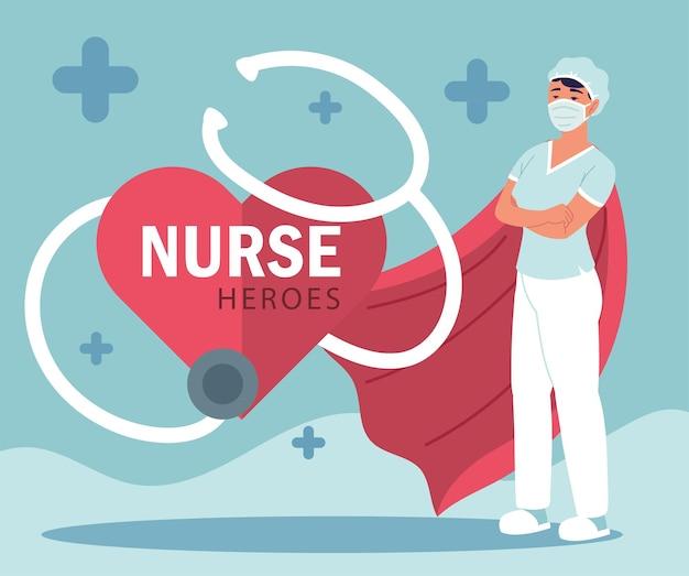 Krankenschwester weibliches stethoskop, medizinisches personal