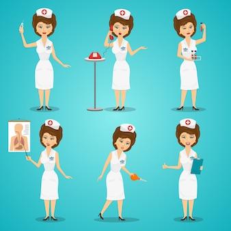 Krankenschwester-zeichensatz