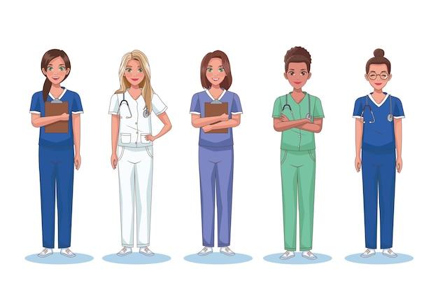 Krankenschwestern beschäftigen fünf