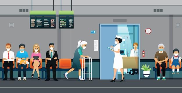 Krankenschwestern rufen nach patienten, die darauf warten, während der epidemie einen arzt aufzusuchen.