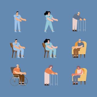 Krankenschwestern und ältere frau und mann