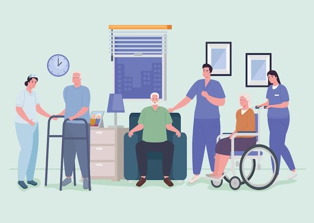 Krankenschwestern und alte leute
