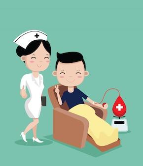 Krankenschwestern und junger mann glücklich zur blutspende