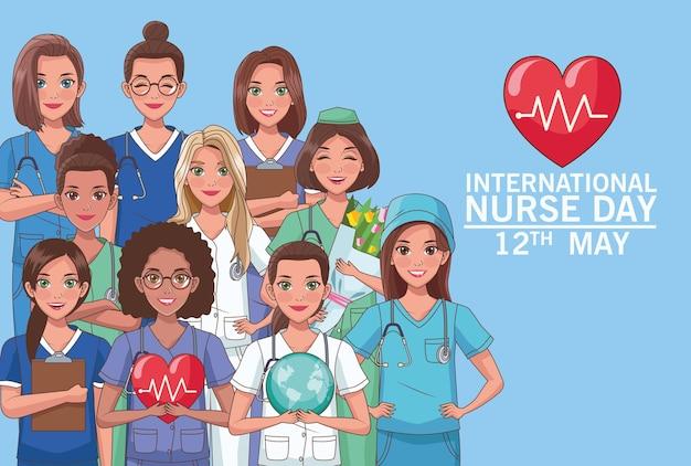 Krankenschwestertag schriftzug mit personal