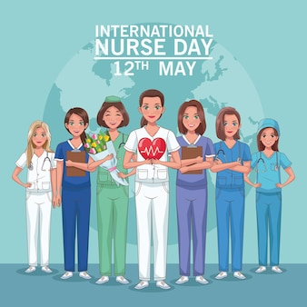 Krankenschwestertag schriftzug und krankenschwestern