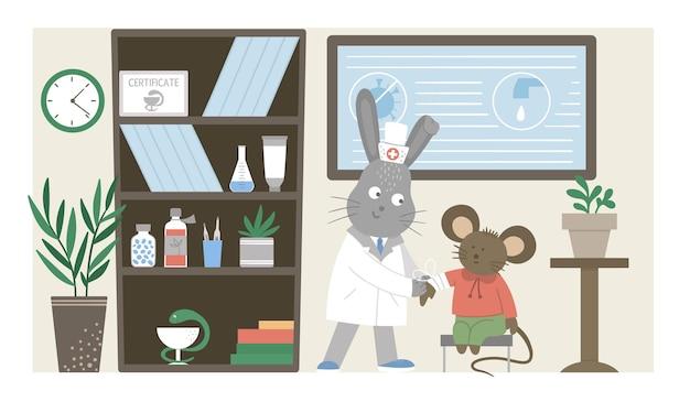 Krankenstation. lustiger tierarzt, der verband im klinikbüro macht. flache illustration des medizinischen innenraums für kinder. gesundheitskonzept