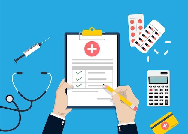 Krankenversicherung für medizinischen schutz, krankenversicherungskonzept-vektorillustration