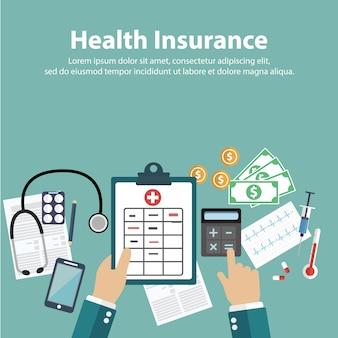 Krankenversicherung hintergrund-design