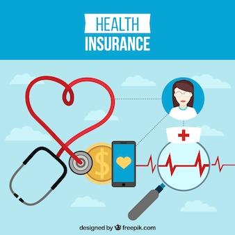 Krankenversicherung hintergrund mit medizinischen elementen