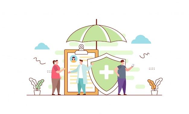 Krankenversicherung in flachen stil