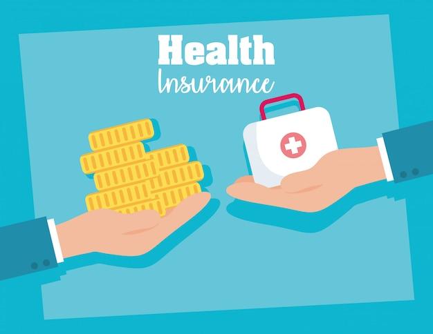 Krankenversicherung mit medizinischer ausrüstung und münze