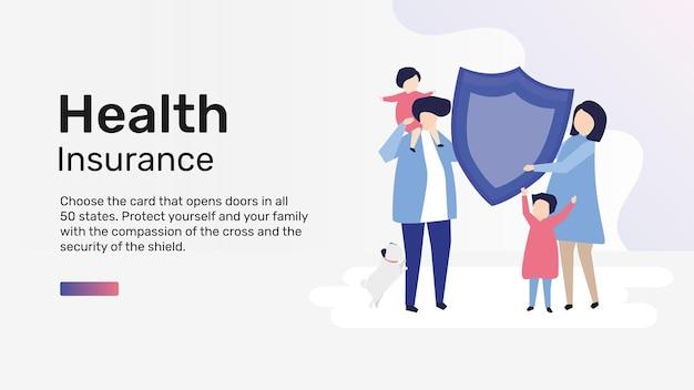 Krankenversicherungs-vorlagenvektor für blog-banner