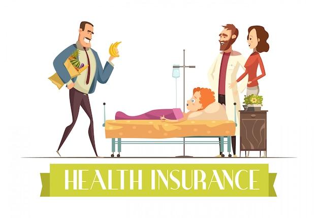 Krankenversicherungspolizei-zahlungsplan deckt kinderbehandlung und lebensmittelkarikaturillustration mit glücklichem ab