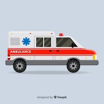 Krankenwagen im flachen design