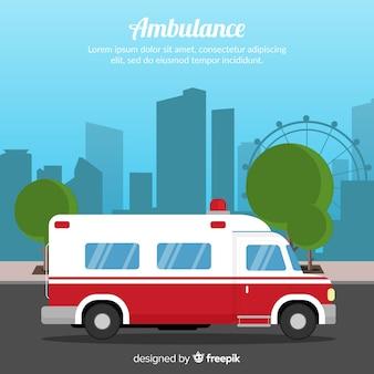 Krankenwagen in flacher Art