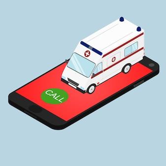 Krankenwagen in isometrischer ansicht. rufen sie den krankenwagen telefonisch an. hilferuf. konzept. arzt zu hause anrufen. vektor-illustration.