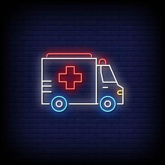 Krankenwagen leuchtreklame auf ziegelmauer