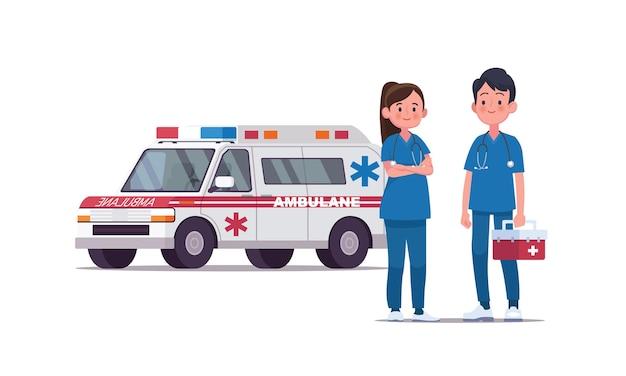 Krankenwagen mit paar ärzten auf weiß isoliert