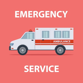 Krankenwagen notdienst flache farbabbildung