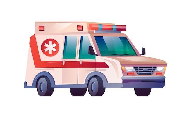 Krankenwagenauto isolierte medizinische van karikaturikone