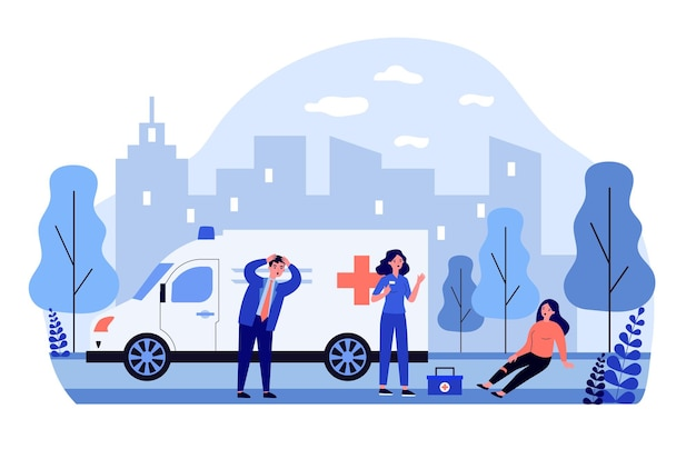 Krankenwagenbrigade kommt an, um verletzte person zu unterstützen
