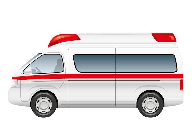 Krankenwagenillustration lokalisiert auf einem weißen hintergrund