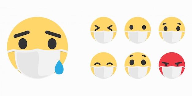 Kranker emoji. maske mit emoji-konzept