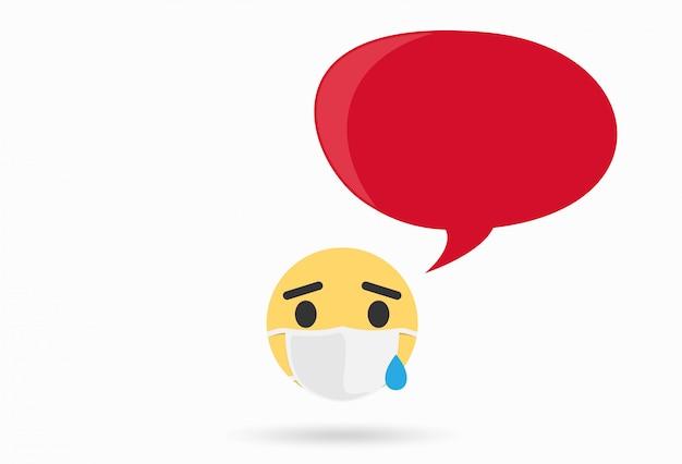 Kranker emoji mit medizinischer maske