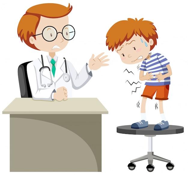Kranker junge, der doktor besucht