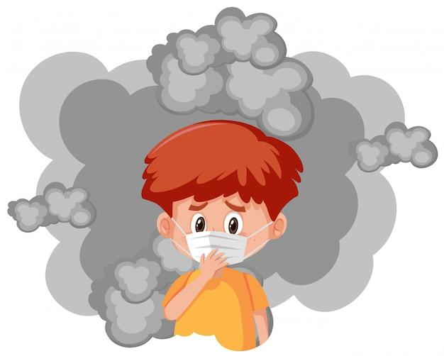 Kranker junge, der maske mit schmutzigem rauch trägt