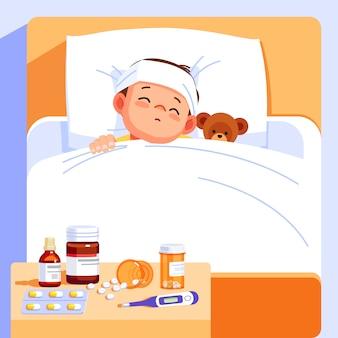 Kranker junge schläft mit einem teddybär im bett und fühlt sich so schlecht mit fieber. karikaturillustration.