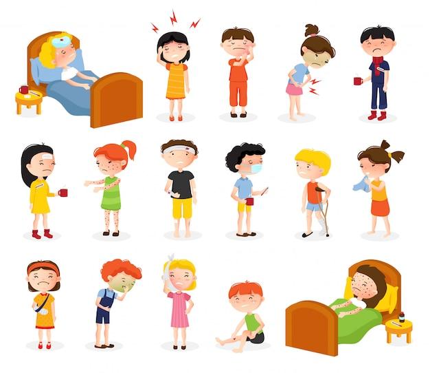 Kranker jungen- und mädchensatz der karikatur von lokalisierten gekritzelart-jugendlichecharakteren, die unter verschiedenen krankheiten leiden, vector illustration