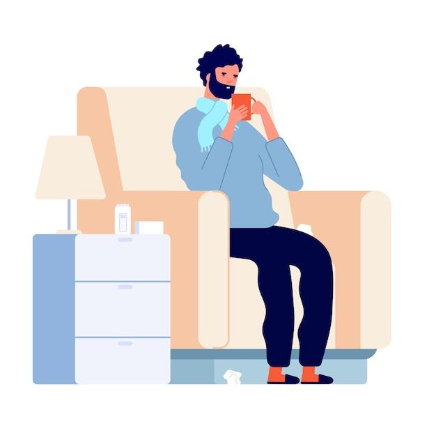 Kranker mann charakter. erkältungskrankheit, kranke person im stuhl mit fieber, niesen. erwachsene grippeinfektion, grippe oder viruspatientenvektorillustration. krankheitsfieber und erkältungsvirus, influenza und grippe
