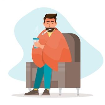 Kranker mann, der eine erkältung hat, sitzen im raum
