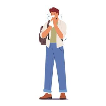 Kranker mann, der niest, kranker männlicher charakter mit laufender nase rotz