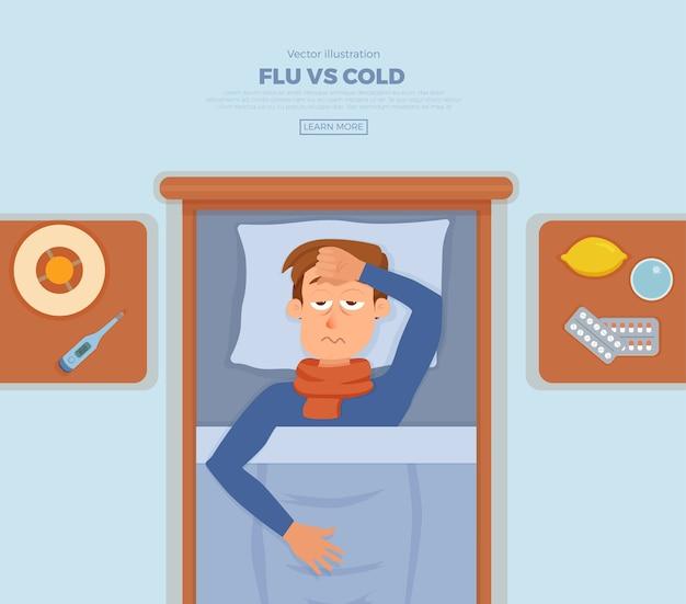 Kranker mann im bett mit den symptomen erkältung, grippe. zeichentrickfigur auf kissen mit decke und schal, medizin, zitrone, thermometer. illustration von ungesunden männern mit hohem fieber, kopfschmerzen.
