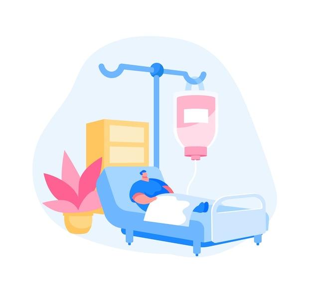 Kranker verletzter patientencharakter, der im medizinischen bett mit dropper liegt