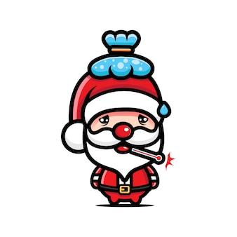 Kranker weihnachtsmann-cartoon